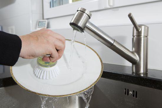Brosse à main avec réservoir à liquide vaisselle