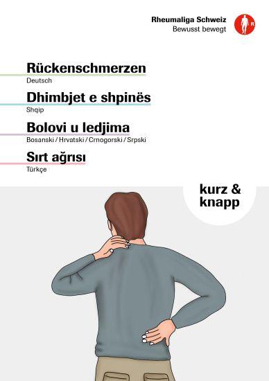 Rückenschmerzen · Dhimbjet e shpinës · Bolovi u ledjima · Sirt agrisi